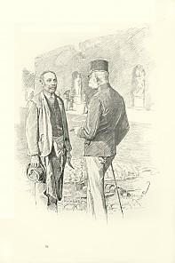 Theo Zasche: Der Kaiser spricht einen Gärtner an, Zeichnung, 1898