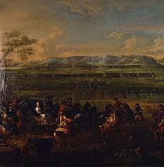Tobias Querfurt der Jüngere: Maria Theresia besichtigt 1745 das Lager der pragmatischen Armee bei Heidelberg,…