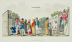 Verlag M. R. Toma: 'Prater Scenes', lithograph, coloured, fol. 12: Punch and Judy show, stiltwalker, ballad s…