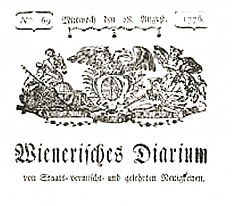 """""""Wienerisches Diarium"""", Titel, 1776"""