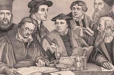 Eight reformers (Hieronymus Bock, Johann Buchenhagen, Johann Calvin, Johannes Hus, Martin Luther, Philipp M...