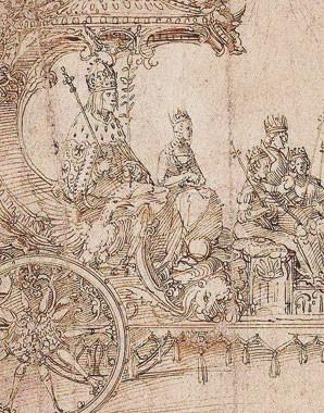 Albrecht Dürer: Entwurf zum Großen Triumphwagen, um 1516/17, Feder in Braun