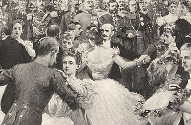 Artur Halmi: Ball at Court – finale of the quadrille, drawing, 1898