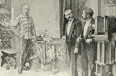 Artur Halmi: Emperor Franz Joseph at the studio of Court Photographer Koller, drawing, 1898