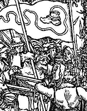 Aufständische Bauern mit Bundschuhfahne, Holzschnitt aus dem Trostspiegel, 1539