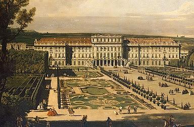Bernardo Bellotto: Schönbrunn viewed from the gardens, oil painting, 1759/60