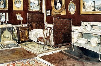 Berthold Löffler: Schlafzimmer Kaiser Franz Josephs in Schönbrunn, Gouache, 1916