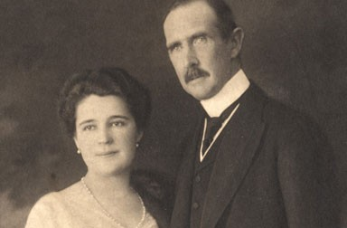 Ferdinand Karl in civilian dress with his wife Berta Czuber, 1913