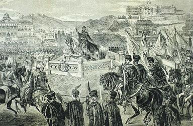 Ferenc Kollarz: Franz Joseph on horseback on the coronation mound at Budapest, drawing, 1867
