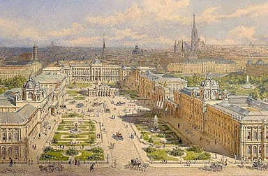 """Franz Alt: """"Der alte und der neue Burgplatz in Wien mit dem Projekt des Kaiserforums"""", 1873, Aquarell"""