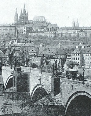 Photograph of the Hradčany seen from the Moldova, 19th century