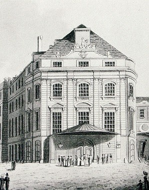 *Im Kärntnerviertel: Kärntnertor-Theater*, c. 1858, after an anonymous coloured copperplate engraving