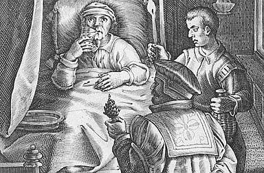Jan van der Straet: Syphilis and its treatment, engraving, 16th century