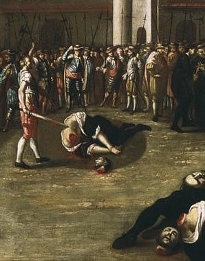 "Josef Ferdinand Wasshuber: Hinrichtung der Wiener Rebellen auf dem Hauptplatz in Wiener Neustadt (""Wiener Neu…"
