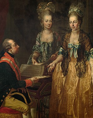 Joseph Hauzinger: Joseph II with his sisters Maria Anna and Maria Elisabeth at the spinet, 1778, oil on canvas