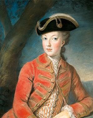 Joseph Kranzinger: Marie Antoinette im roten Jagdkostüm, Pastell auf Pergament, um 1768