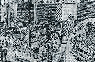 Kupferstich der Weberei im Innsbrucker Strafarbeitshaus, 18. Jahrhundert