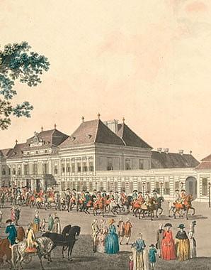 Laurenz Janscha and Johann Ziegler: View of the imperial-royal château de plaisance at Laxenburg near Vienna,…