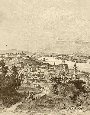 Ludwig Rauscher: Budapest, view from the Bocksberg, illustration, 19th century
