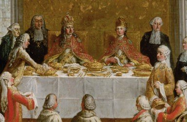 Studio of Martin van Meytens: The Coronation Banquet of Joseph II in the Römer in Frankfurt (detail), from ...
