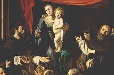 Michelangelo Merisi (gen. Caravaggio): Rosenkranzmadonna, Gemälde, 1606/1607
