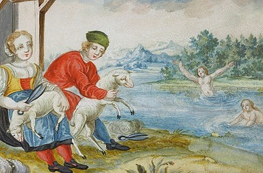 One of the labours from the cycle *The Farmer's Year*, gouache, 3rd quarter of 18th century