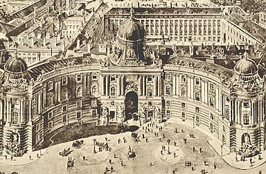 Scenographic view of the Vienna Hofburg, 19th century