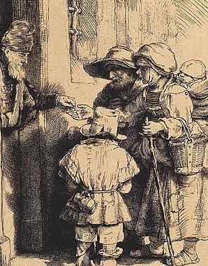 Rembrandt Harmenszoon van Rijn: Beggars at the door, etching, 1648