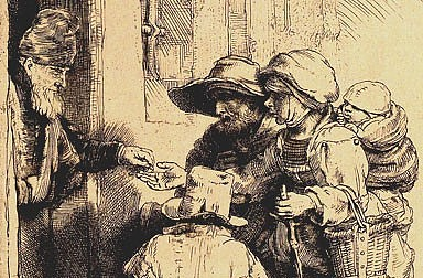 Rembrandt Harmenszoon van Rijn: Beggars at the door, etching, 1648