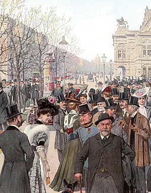 The Corso on the Ringstrasse in Vienna. Print after a painting by Theo Zasche, c. 1900