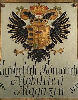 Sign with inscription: *Kayserlich Königliches Mobillien Magazin*