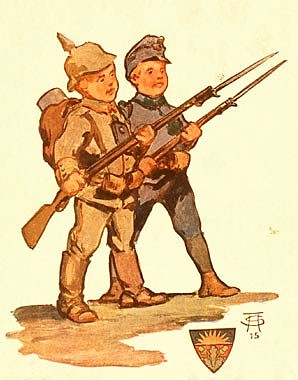 'Shoulder to shoulder', from the postcard album *Kriegserinnerungen 1914-15*