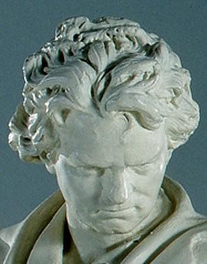 Vinzenz Pilz: Ludwig van Beethoven leaning on a broken column, 1877, statue, plaster of Paris
