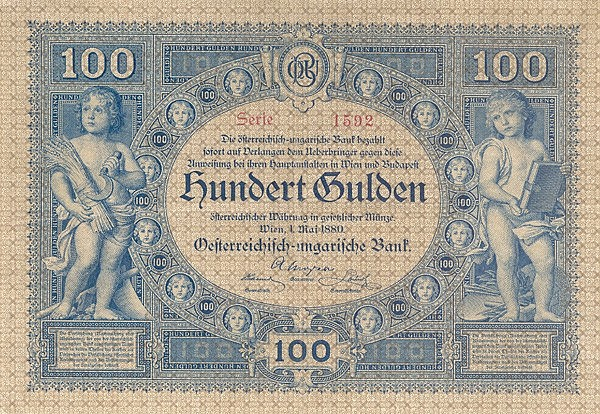 100 gulden in Austrian currency, the reverse in German, issue of 31 October 1881