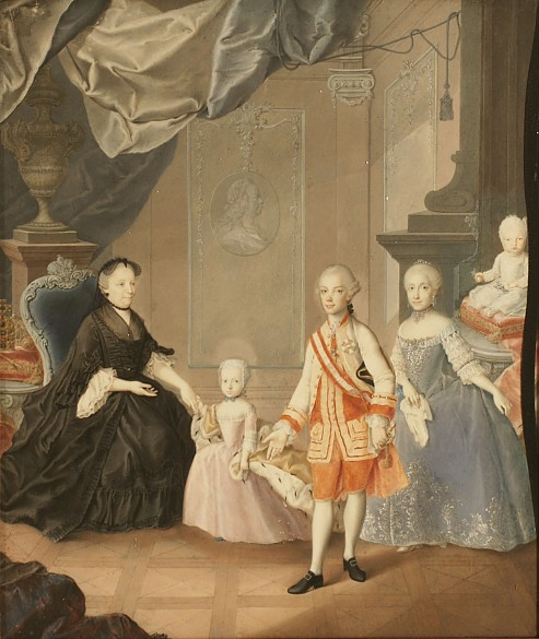A. Bencini: The widowed Maria Theresa, Archduke Leopold and his wife Maria Ludovica together with two of th...