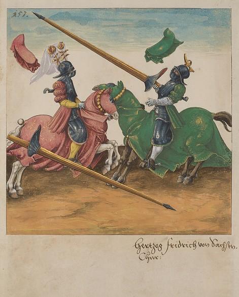 """Abbildung aus """"Freydal"""", Turnierbuch Kaiser Maximilians I., 1512–1515, Grafik, Handschrift, Gouache"""