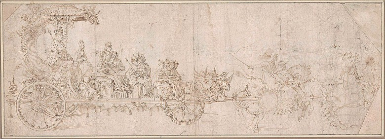 Albrecht Dürer: Study for the Great Triumphal Car, c. 1516/17, pen and brown ink