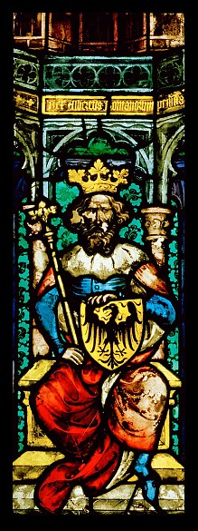Albrecht I, stained glass window from the Chapel of St Bartholomew in St Stephen's Cathedral in Vienna, c. 13…
