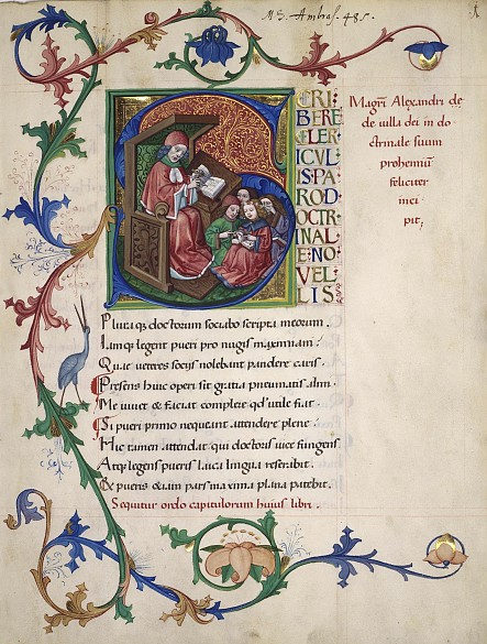 Alexander von Villedieu: *Doctrinale puerorum*, page with historiated initial