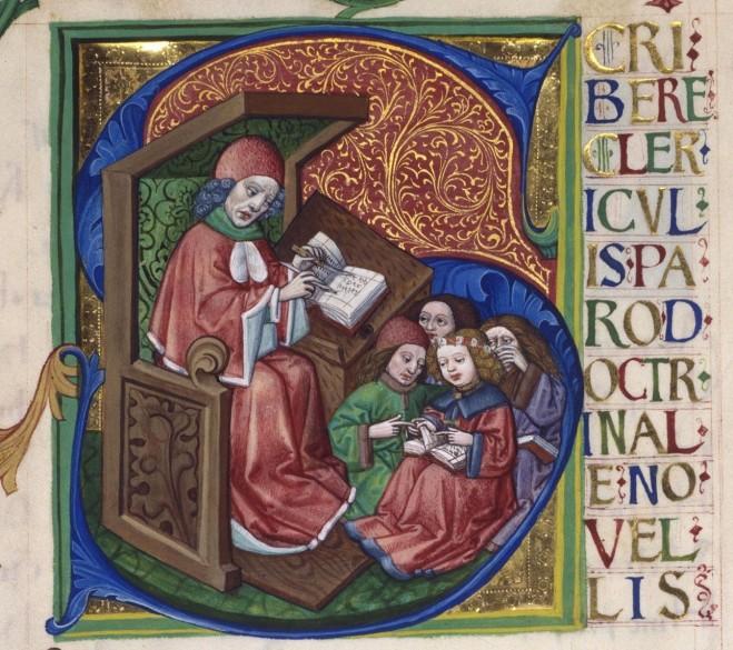 Alexander von Villedieu: *Doctrinale puerorum*, historiated initial
