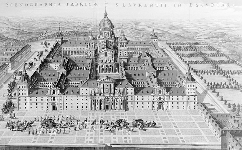 Bird's-eye view of the Escorial monastery and residence: *Scenographia fabrica S. Laurentii in Escuriali*, ...