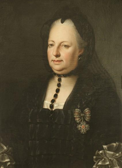 Anton von Maron (?): Maria Theresia in Witwentracht, Ölgemälde, um 1772