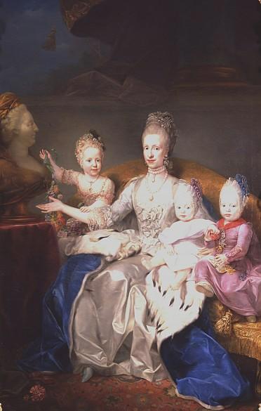 Anton von Maron: Maria Ludovica with three of her children, oil painting, c. 1769/70