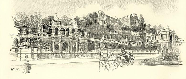 Artur Halmi: Ansicht der königlichen Burg in Buda,  Zeichnung, 1898