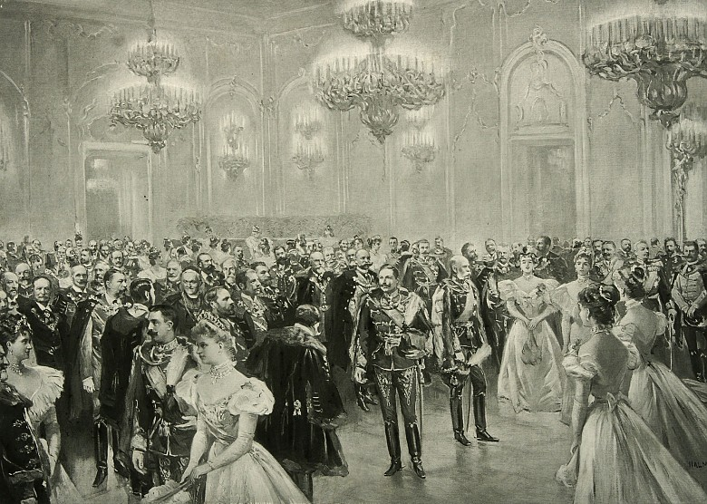 Artur Halmi: Empfang in der Burg zu Buda, Zeichnung, 1898