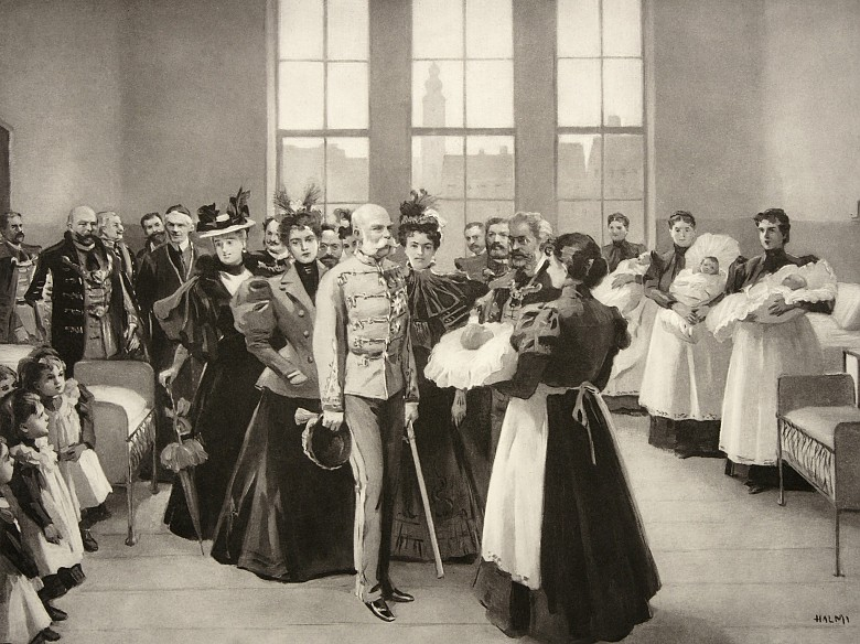 Artur Halmi: Franz Joseph in a home for foundlings in Budapest, drawing, 1898