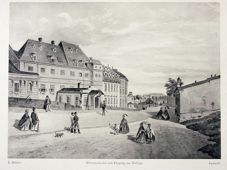 *On the Kärntnerbastei and before the Stubenbastei (1858): Kärntnerbastei with the entrance to the court loge…