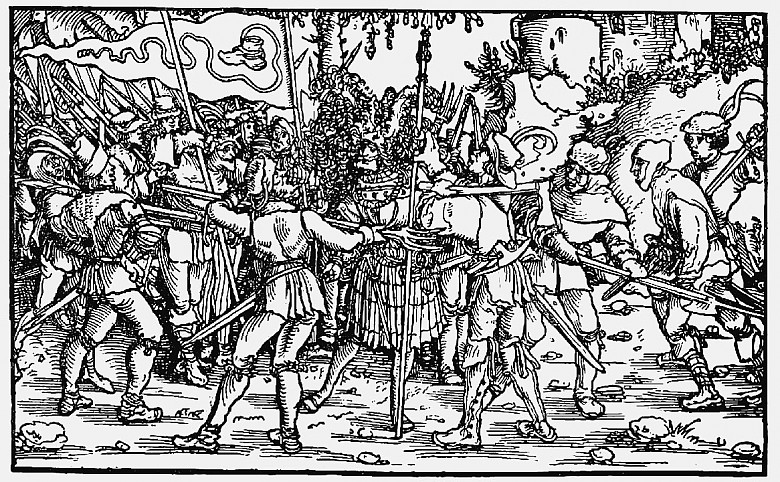 Rebellious peasants with a 'Bundschuh' banner, woodblock print from the *Trostspiegel*, 1539