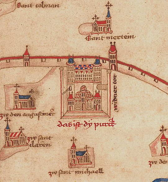 Detail of the 'Albertinian Map' of Vienna, 1421/22