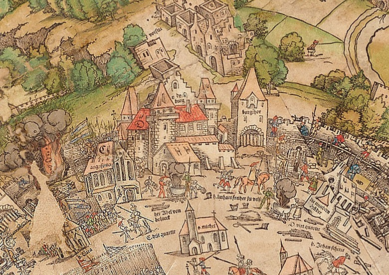 Detail from the map of Vienna by Niklas Meldemann, coloured woodblock print, 1530